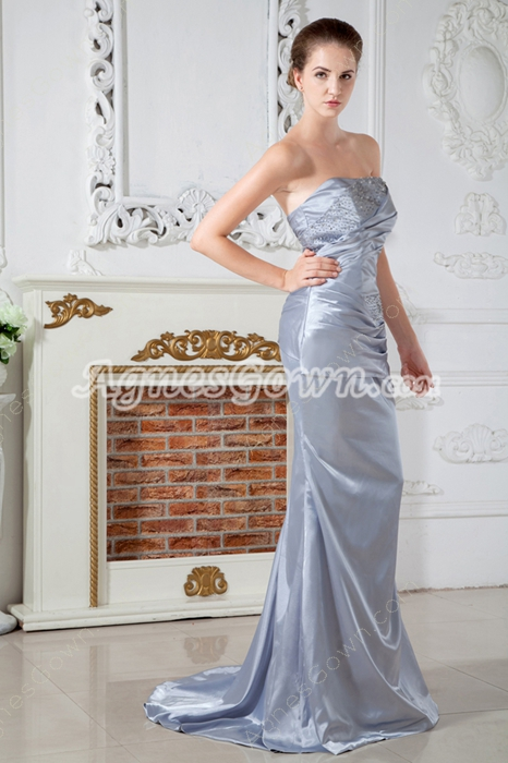 Sheath Floor Length Silver Evening Dress Corset Back
