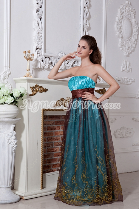 Column Full Length Blue And Brown Prom Dress