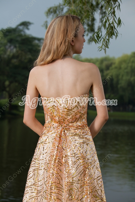 Fashionable Strapless A-line Gold Prom Dress