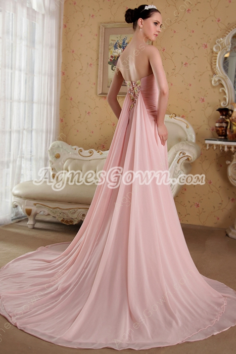 Delicate A-line Full Length Pink Chiffon Prom Dress With Ribbon