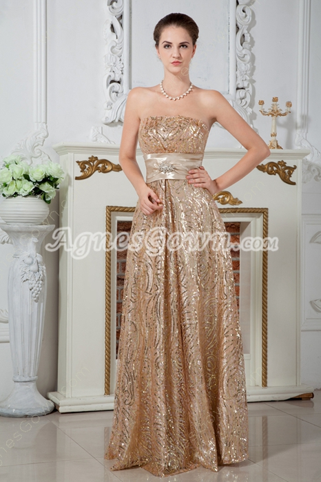Stunning Column Floor Length Gold Sequined Lace Prom Dress