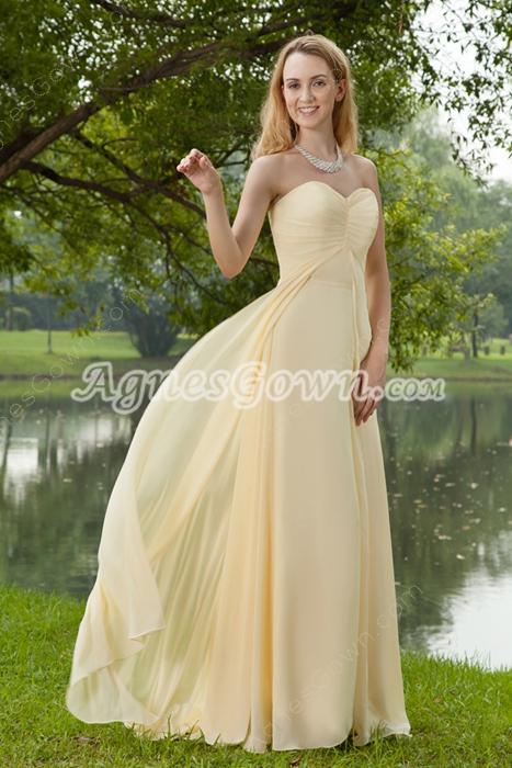 Elegance Sweetheart Pale Yellow Chiffon Formal Evening Dress