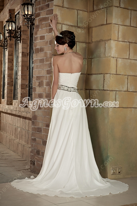 Romantic Sweetheart Ivory Chiffon Destination Wedding Dress