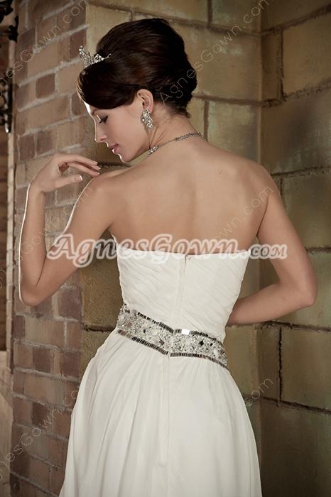 Romantic Sweetheart Ivory Chiffon Destination Wedding Dress