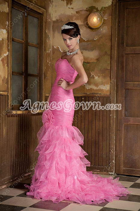 Attractive Sweetheart Trumpet/Mermaid Pink Prom Gown