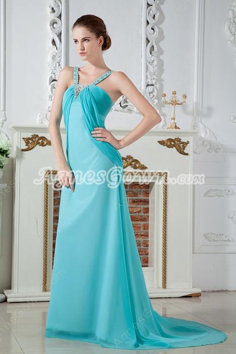 Charming Straps A-line Full Length Aqua Evening Dress
