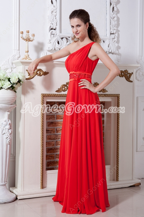 A-line Full Length Red Chiffon One Shoulder Plus Size Evening Gown