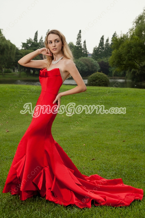 Sweetheart Satin Red Mermaid Wedding Dress