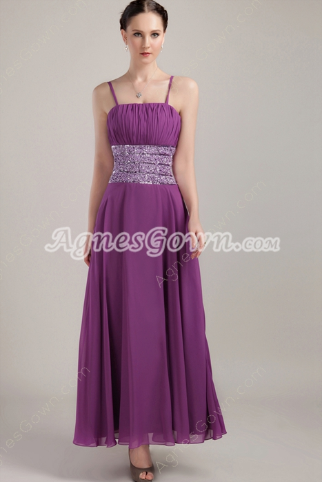 Column Ankle Length Spaghetti Straps Regency Bridesmaid Dress
