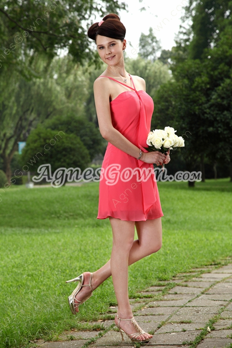 Mini Length Watermelon Chiffon Graduation Dress For 8th Grade