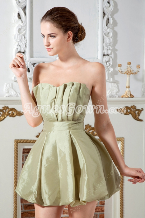 Sage Taffeta Lanterns Graduation Dress Mini Length
