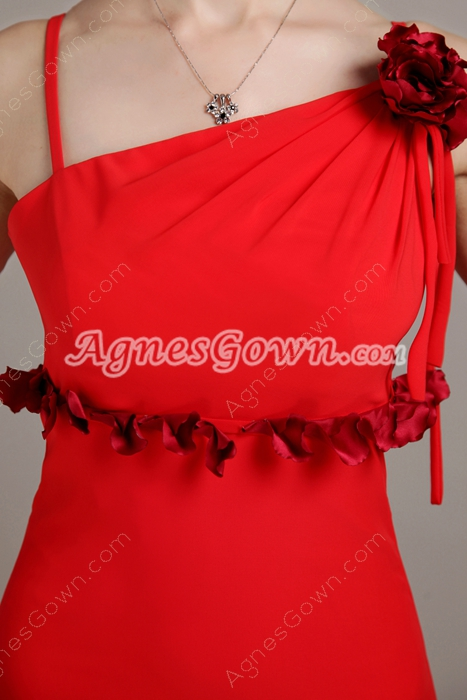 Column Full Length Red Chiffon Junior Prom Dress