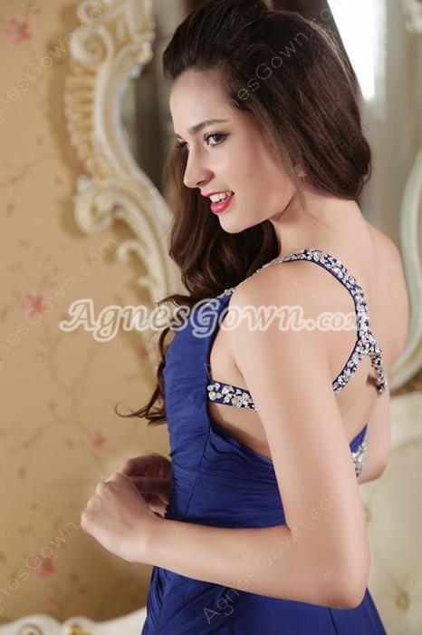 One Shouder Royal Blue Long Prom Dress Cut Out Back
