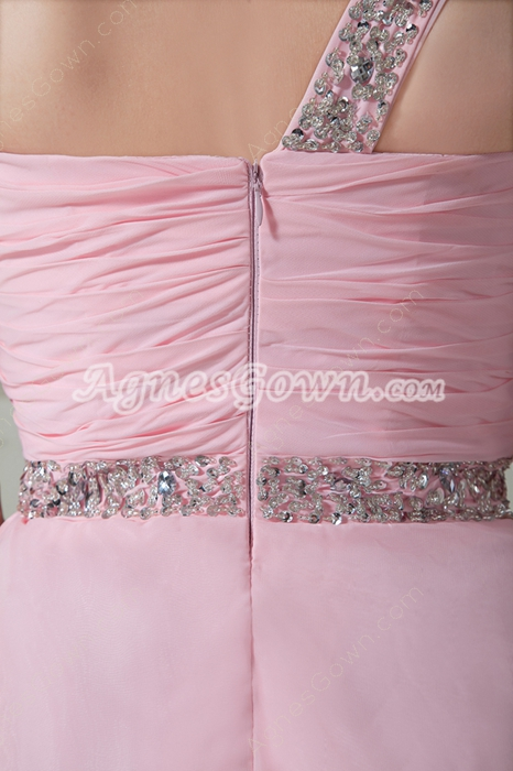 Straight Full Length One Shoulder Pink Chiffon Bridesmaid Dress