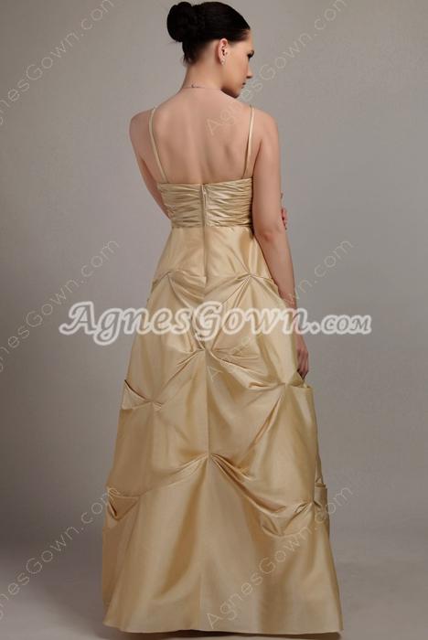 Spaghetti Straps Champagne Taffeta Quinceanera Dress