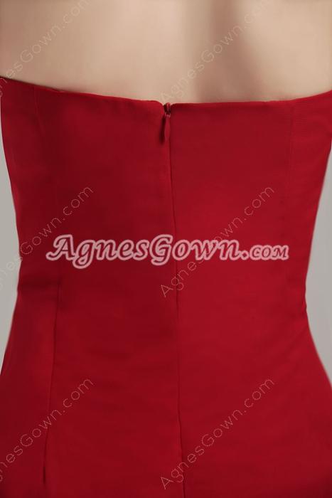 Strapless Dark Red Chiffon Homecoming Dress Asymmetrical Hem