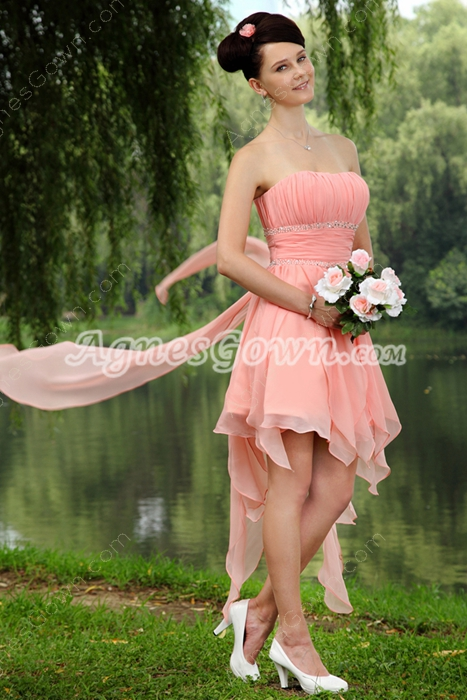 High Low Chiffon Strapless Peach Sweet Sixteen Dress