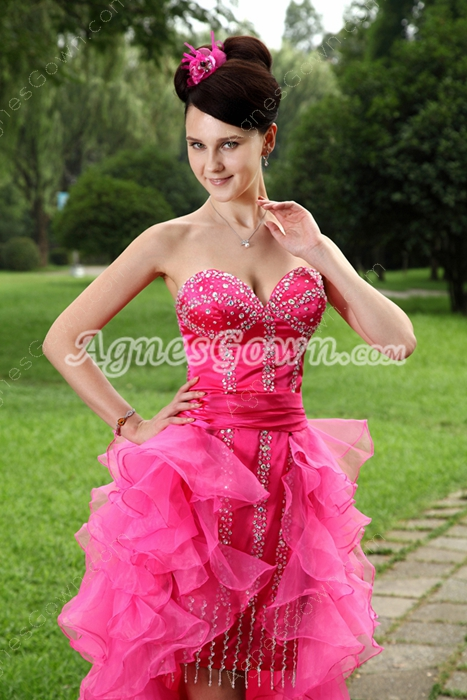 Lovely Organza Low-cut Sweetheart Hot Pink Sweet Sixteen Dress
