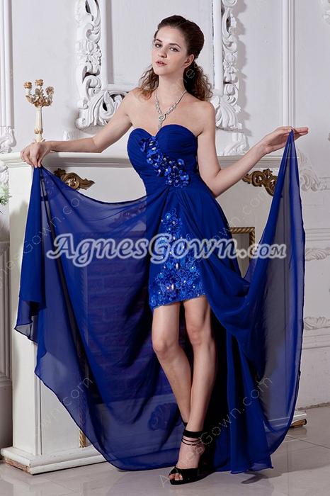 High Low Hem Royal Blue Chiffon Junior Prom Gown