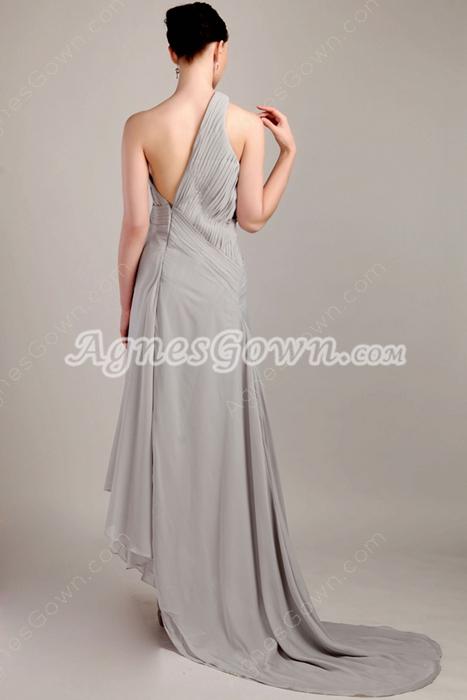 Asymmetrical Hem One Shoulder Gray Chiffon Evening Dress