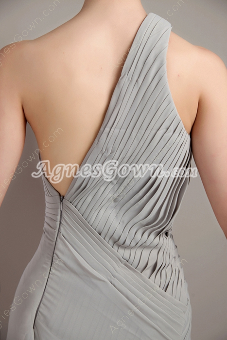Asymmetrical Hem One Shoulder Gray Chiffon Evening Dress