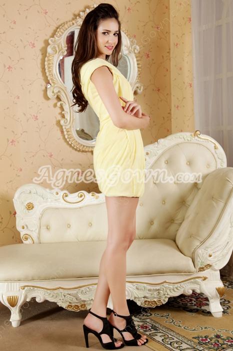Modern One Shoulder Sheath Mini Length Yellow Cocktail Dress