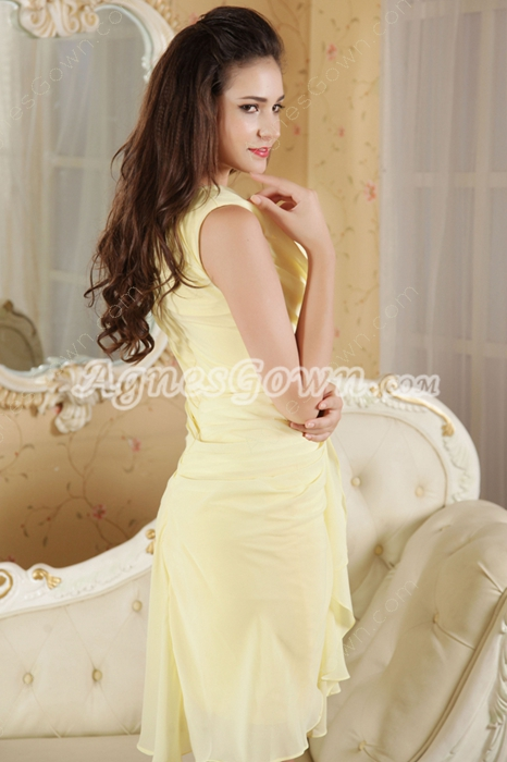 Sleeveless A-line Mini Length Yellow Homecoming Dress