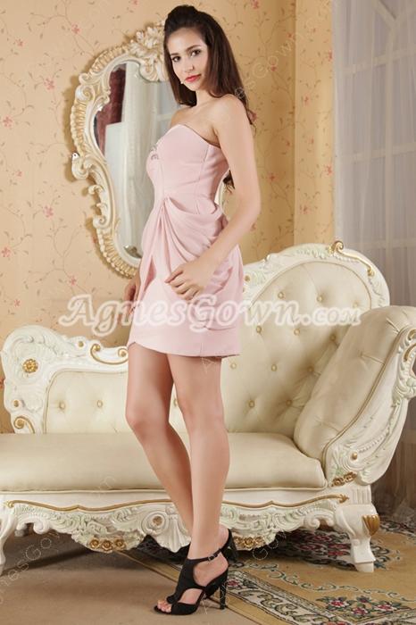 Mini Length Pink Chiffon Homecoming Dress