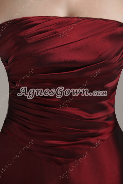 A-line Floor Length Burgundy Taffeta Bridesmaid Dress