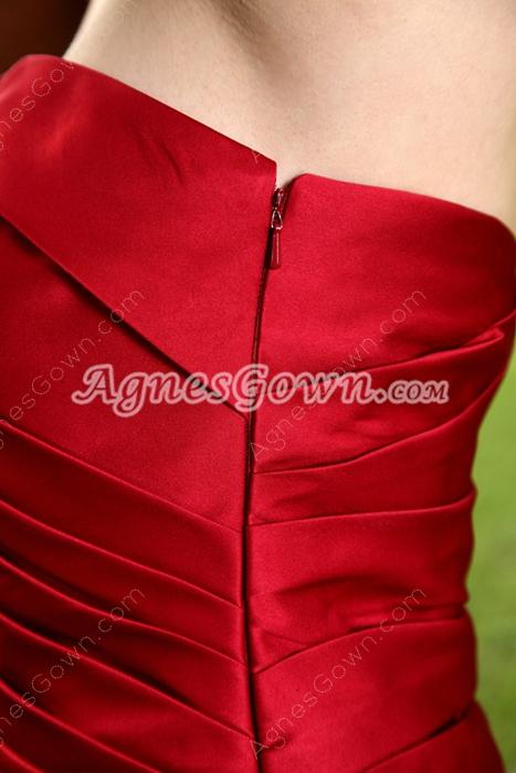 Column Mini Length Dark Red Satin Bridesmaid Dress Pleated