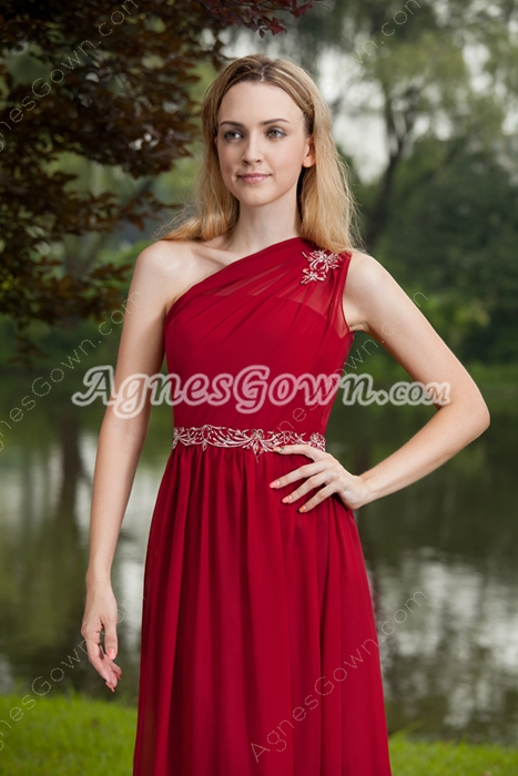 Vintage Dark Red Bridesmaid Dresses One Shoulder