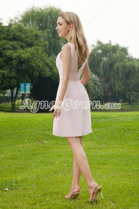 V-Neckline Mini Length Pink Bridesmaid Dress