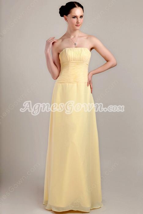 Cheap Column Long Length Yellow Chiffon Bridesmaid Dress