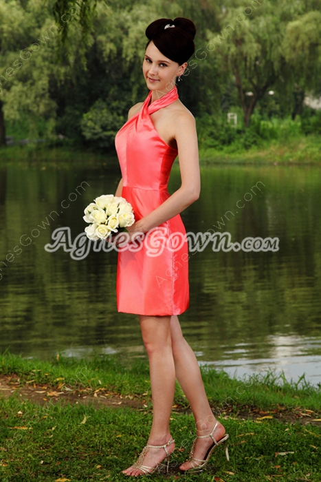 Mini Length Halter Watermelon Junior Bridesmaid Dress