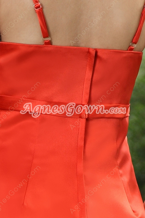 Tea Length Satin Spaghetti Straps Orange Bridesmaid Dress