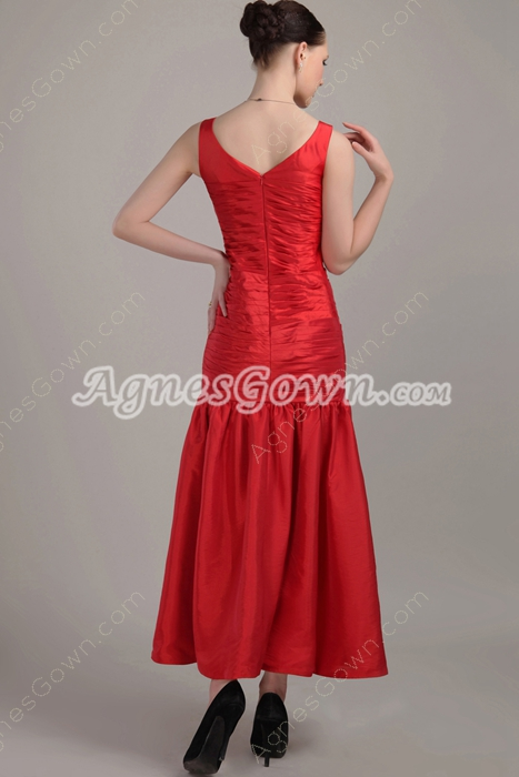 Ankle Length Red Prom Dress For Juniors