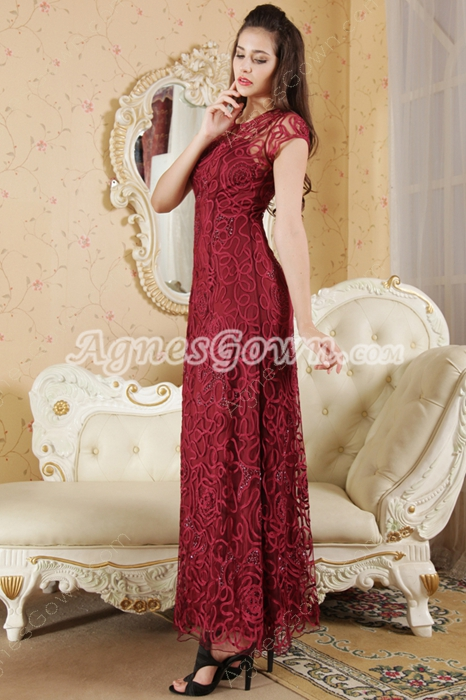 Short Sleeves Jewel Neckline Column Ankle Length Junior Prom Dress