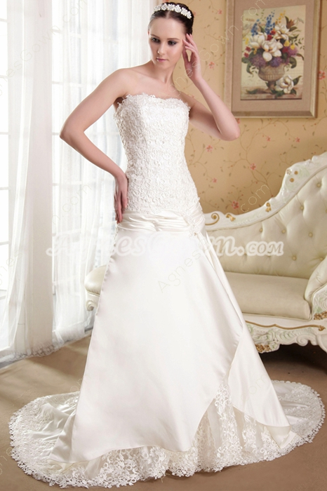 A-line Full Length Lace Wedding Dress Corset Back