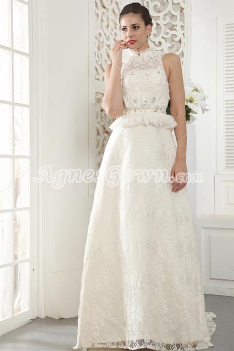 Keyhole Back Halter Champagne Lace Wedding Dress