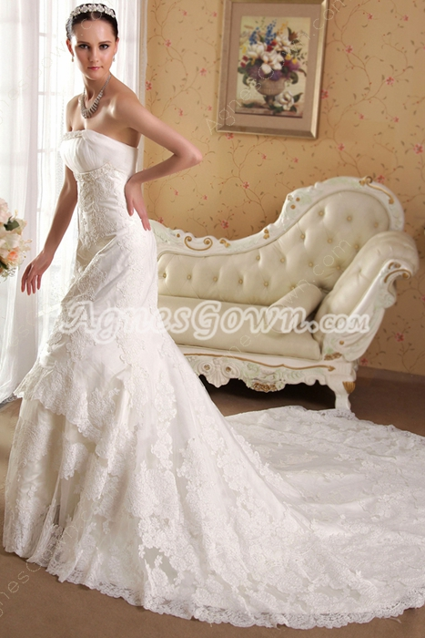 Exquisite Strapless Fishtail Lace Bridal Gowns with Train