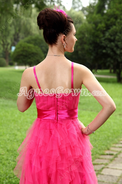 Puffy Mini Length Hot Pink Tulle Damas Dress