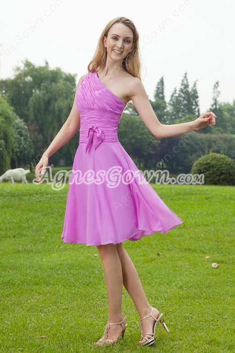 Knee Length One Shoulder Chiffon 0rchid Bridesmaid Dress