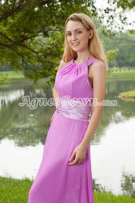 Sweet Jewel Neckline Lilac Bridesmaid Dress
