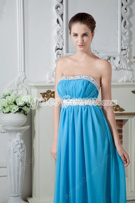 Open Back Strapless Column Floor Length Blue Prom Dress