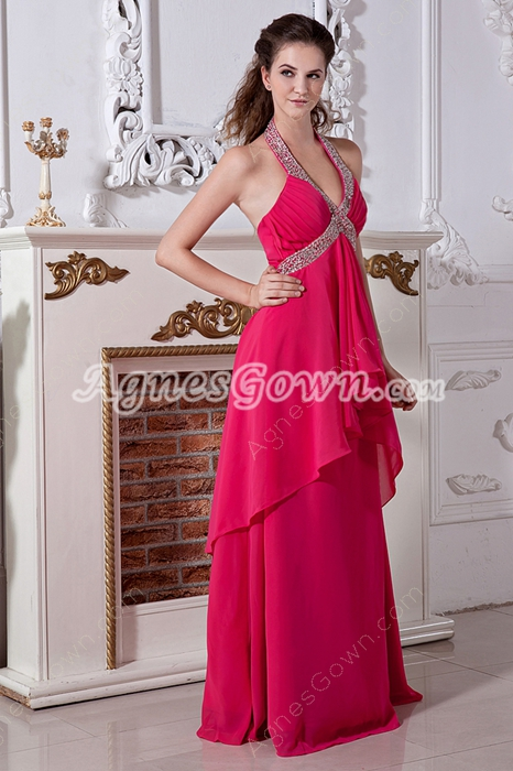 Hot Pink Chiffon Top Halter Column Prom Dress
