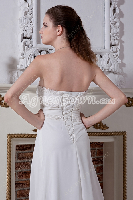 Romantic Empire Chiffon Maternity Wedding Gowns Lace Up
