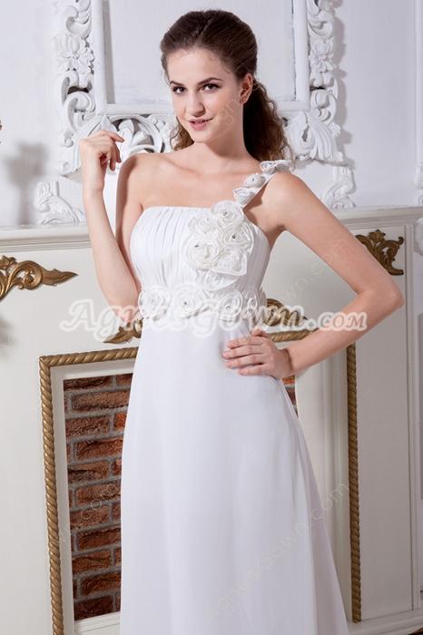 Greek One Shoulder Chiffon Destination Wedding Dress