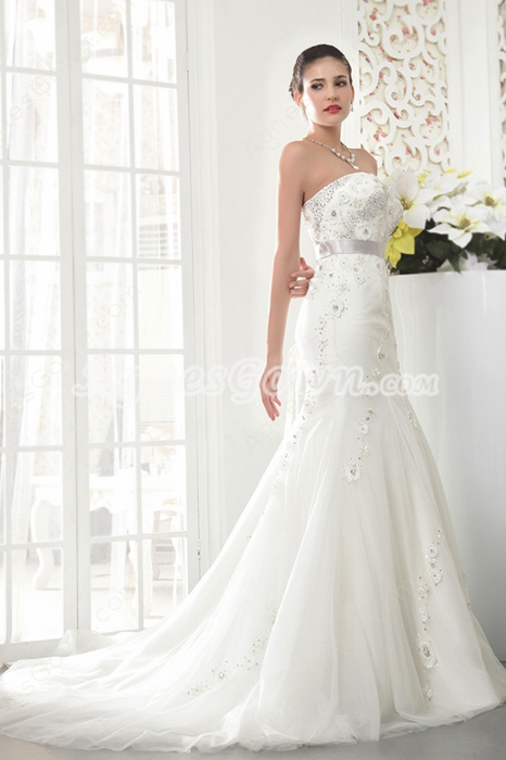 Vintage Strapless Neckline Full Length Plus Size Mermaid Wedding Dress