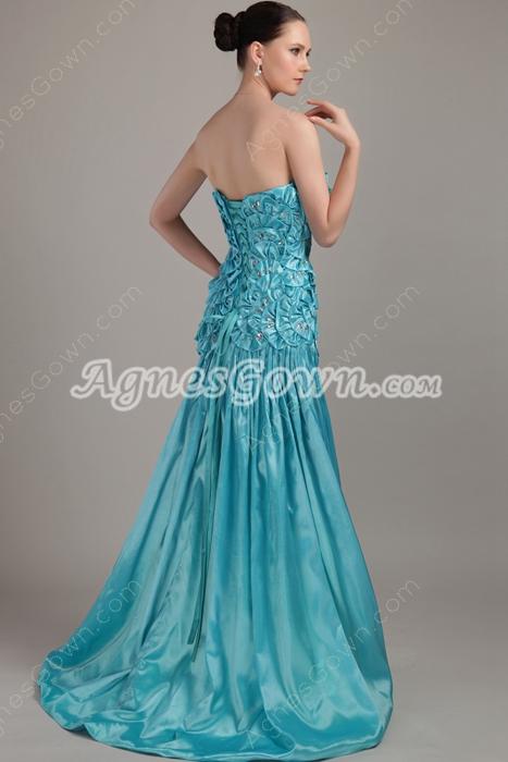 Butterfly Blue Satin Prom Dress Long Length