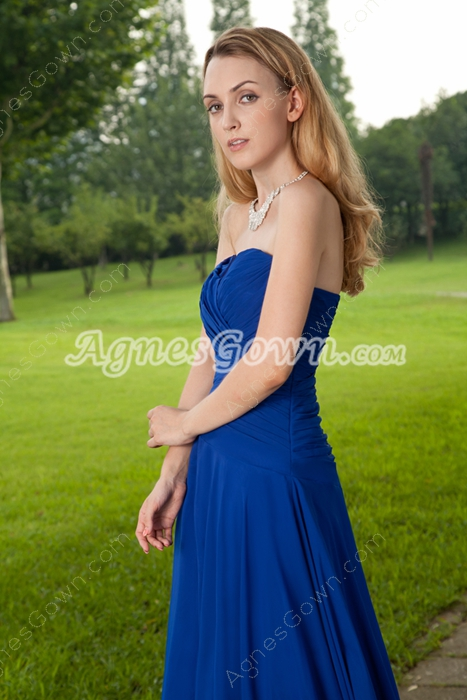 Sweetheart A-line Full Length Royal Blue Prom Dress